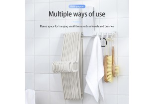Laundry Hangers Organizer Multifunction Hangers Storage Without Nails Heavy Duty Magic Adhesive Wall Hook