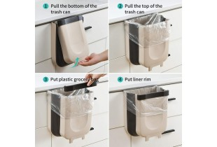 Kitchen Cabinet Door Hanging Garbage Bin Trash Can Foldable Collapsible Rubbish Container