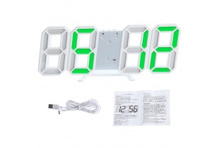 Multifunction 3D LED Digital Wall Alarm Clock with Night Mode Cable & Battery Included