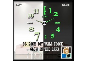 Large Size 80-120CM Luminous Wall Clock 3D DIY Acrylic Mirror Clock Stickers Self Adhesive Hanging Clock Home Decoration