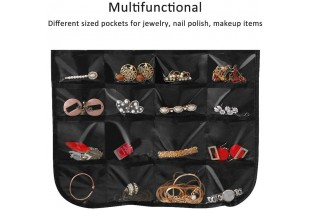 Hanging Jewelry Organizer 40 Pockets and 20 Magic Tape Hook Necklace Holder Jewelry Chain Organizer Hanger