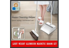 Upgraded Aluminium Magnetic Broom Dustpan Set Penyapu Penyodok Foldable Storage Soft Brush Home Sweeping Cleaning Tools