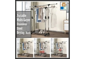 Double Pole Extendable Stainless Steel Clothing Drying Rack With Wheel 1-2-3 Layer