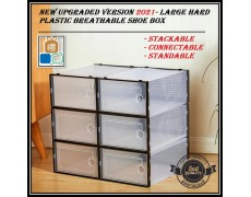 (Breathable) Unisex Stackable Storage Shoes Shoe Box Pp Hard Plastic Box Penyimpan Kotak Kasut Extra Thickness Material