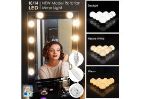 Dimmable Stepless Hollywood Makeup Mirror Light 10/14 LEDs Bulb Vanity Mirror Lamp with 3 Mode USB Plug