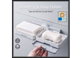 Double Layer Soap Holder Punch-Free Soap Box Wall-mounted Toilet Suction Cup Soap Holder Self Adhesive Holder