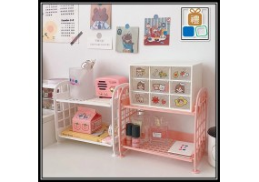 Ins Desktop Double-layer Folding Storage Rack Foldable Dormitory Storage Artifact Desk Girl Sundries Rack Organizer