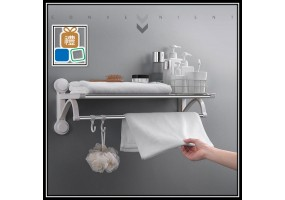 Punch-free Stainless Steel Suction Cup Toilet Nail-free Plastic Towel Rack Double-pole Double-layer Bathroom