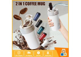 2 In 1 Double Stainless Steel 304 Coffee Mug Car Thermos Mug Leak Proof Travel Thermos Cup Flask With Straw