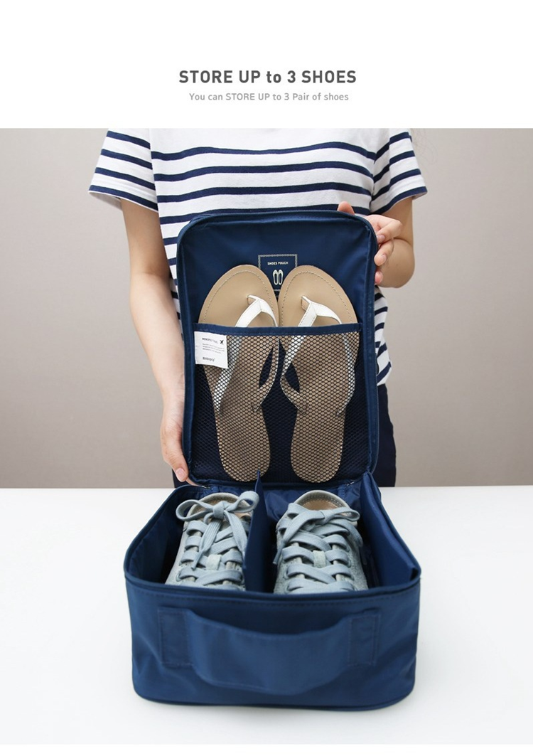 Travel Shoe Organizer Bag - Up to 3 Shoes/Slippers (F006)