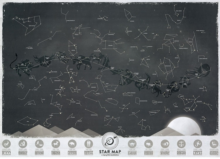 Creative Zodiac Luckies Star Map (Glow In The Dark) for Collection & Decoration (F015)