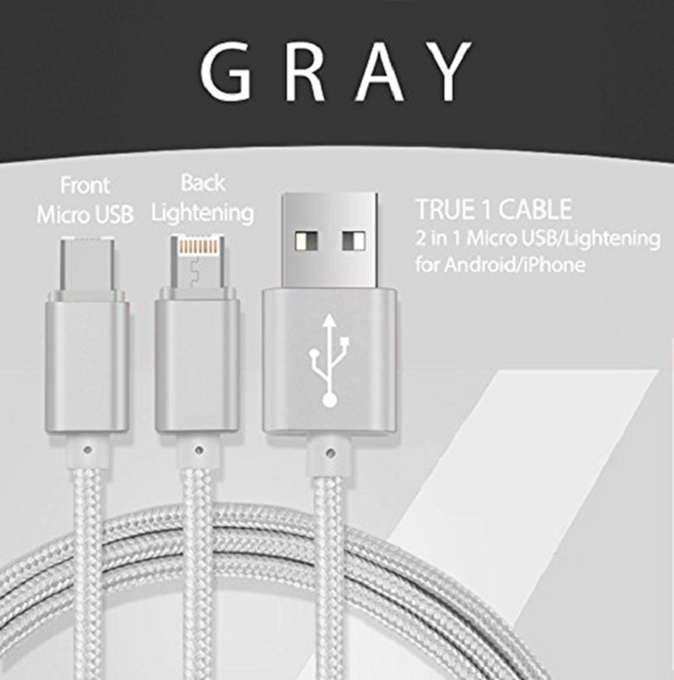 3 in 1/ 2 in 1/ 1 in 1- Micro USB, 8 Pin , Type C Phone Cable  - (P005)