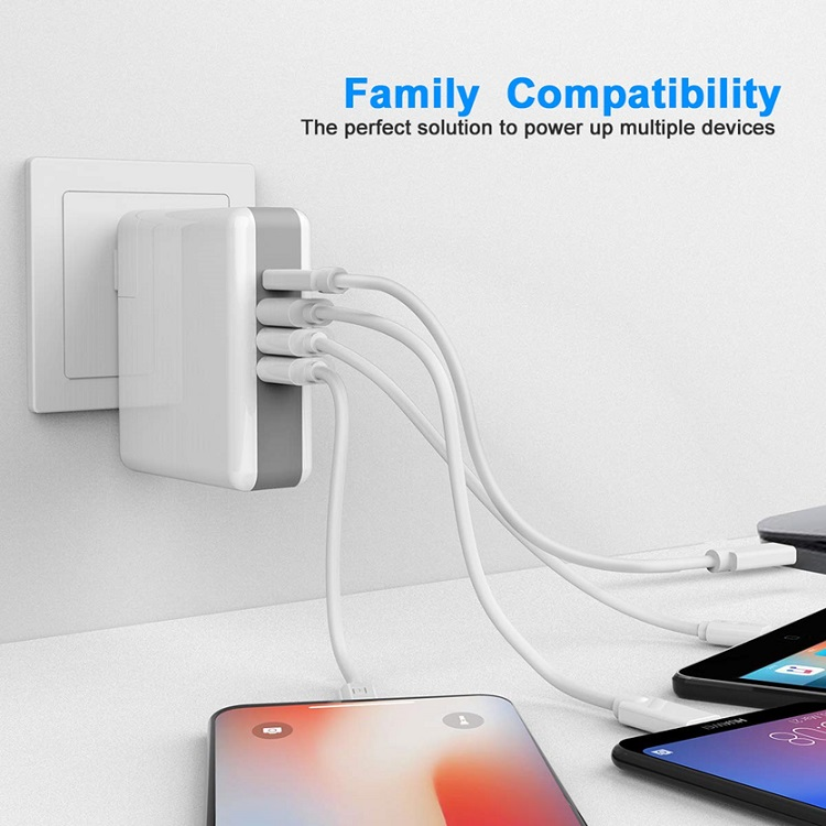 Quick Charge 3.0  4 Ports USB Type C Desktop Charging Station Wall Travel Office Charger - (P011)