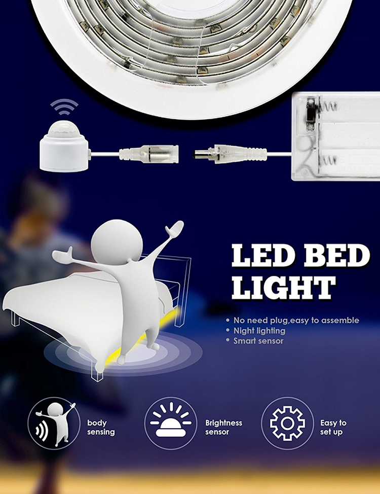 Motion Sensor Bed Lights - (DIY) Indoor LED Strip Dual Power USB & Battery - (B038)