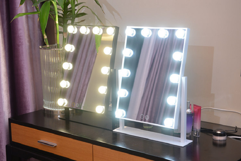 Hollywood Style Tabletops Lighted Make up Vanity Mirror with LED Light Bulb Touch Screen
