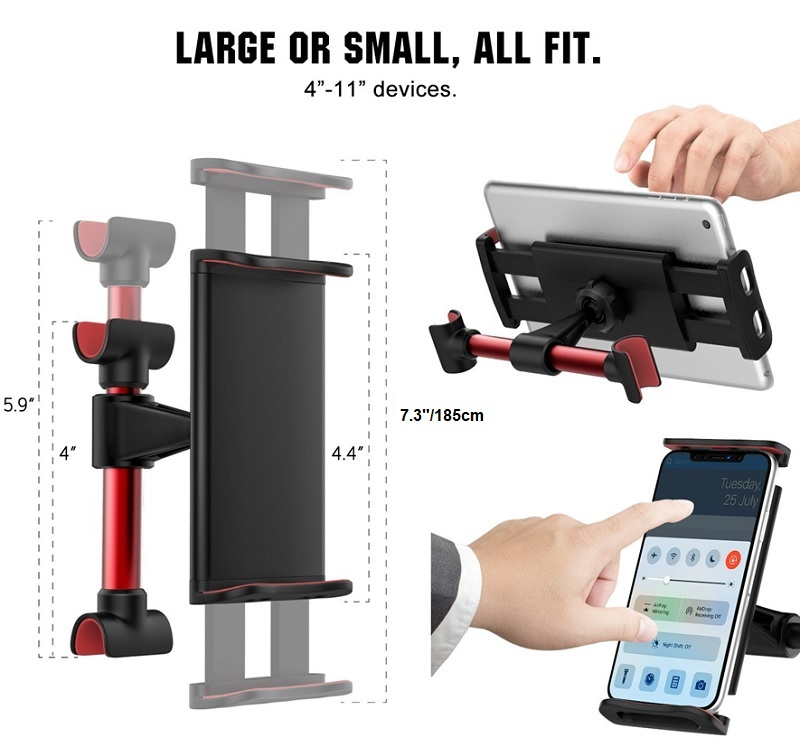Car Back Seat Tablet Ipad Headrest Mount Holder with 360 Degree Adjustable Rotating Travel Kit (Red)
