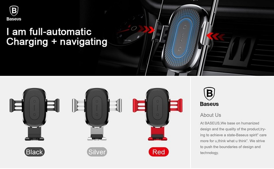 Baseus 10W Wireless Charger Car Holder QI Wireless Charging Charger Dashboard Car Mount Phone Holder Stand
