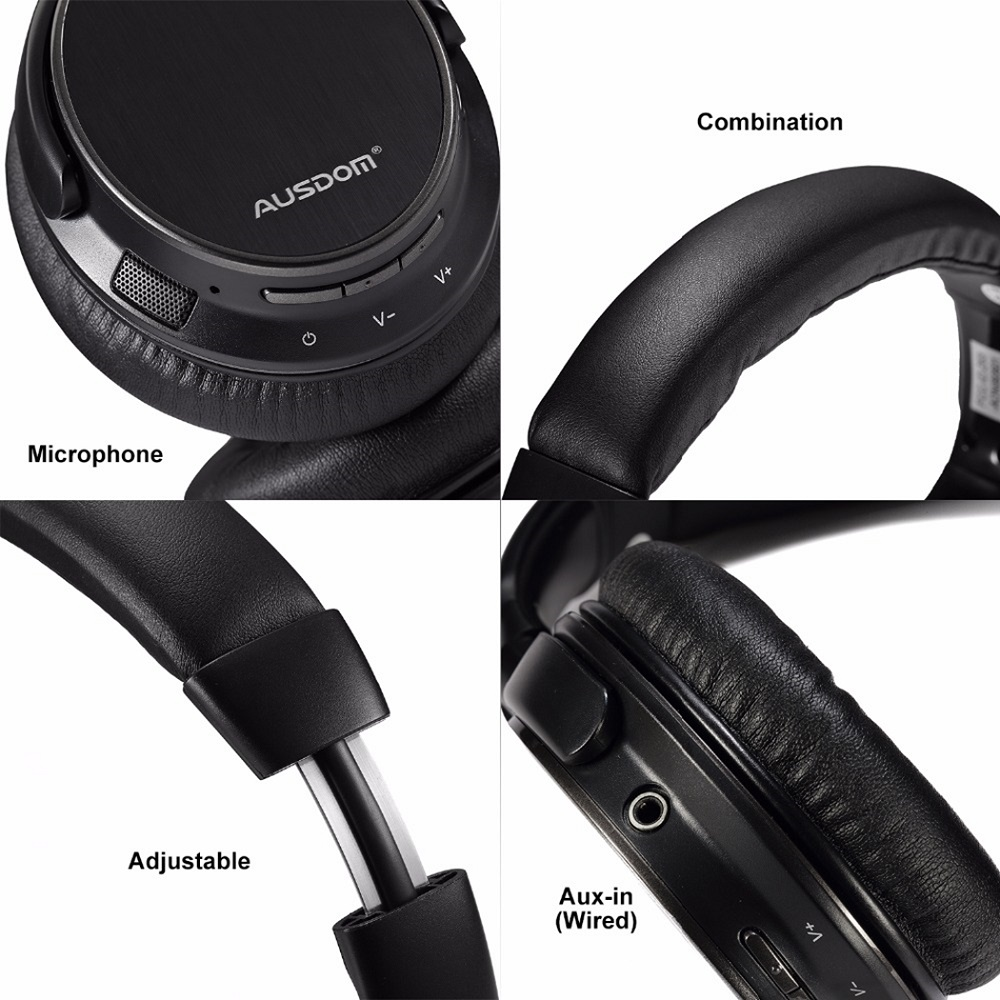 AUSDOM M06 Lightweight Headset Stereo EDR Wired Wireless Bluetooth Over Ear Headphones Deep Bass wit