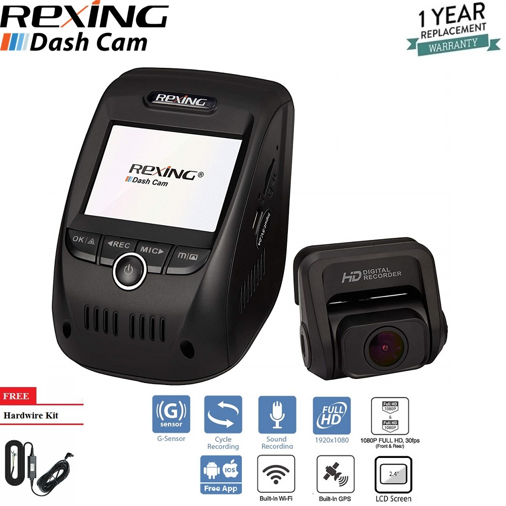 Rexing V1P Pro Dual 1080p Full HD Front and Rear 170 Degree Wide Angle Wi-Fi Car Dash Cam with Built-in GPS Logger, Supercapacitor, 2.4