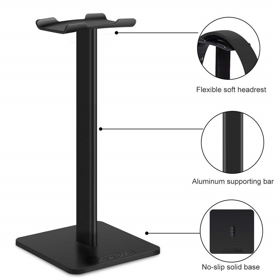 Headphone Stand Headset Holder New Bee Earphone Stand with Aluminum Supporting Bar Flexible Headrest