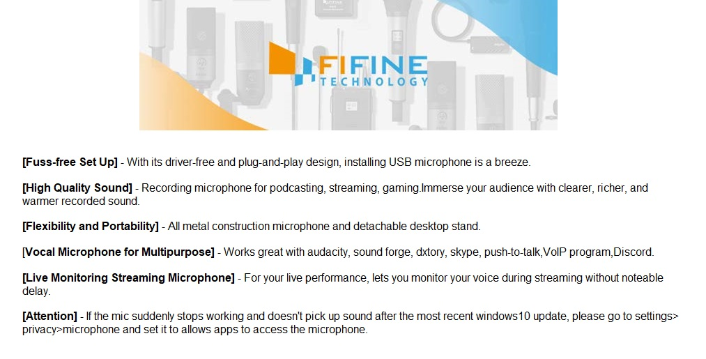 Fifine Metal Condenser USB Microphone Recording Microphone For Laptop MAC  Or Windows Cardioid Studio