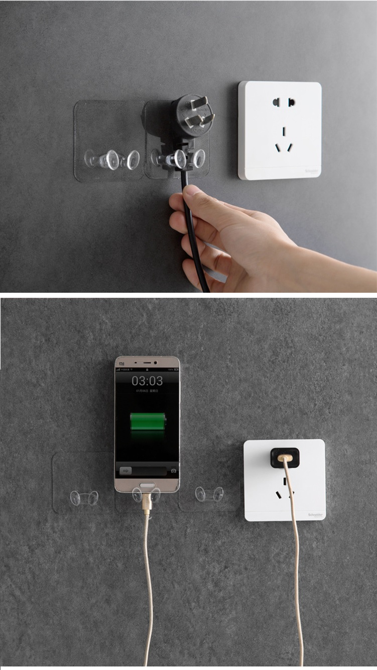 5 Pcs Power Plug Hook Kitchen Seamless Strong Adhesive Electrical Wire Plug Wall Sticker