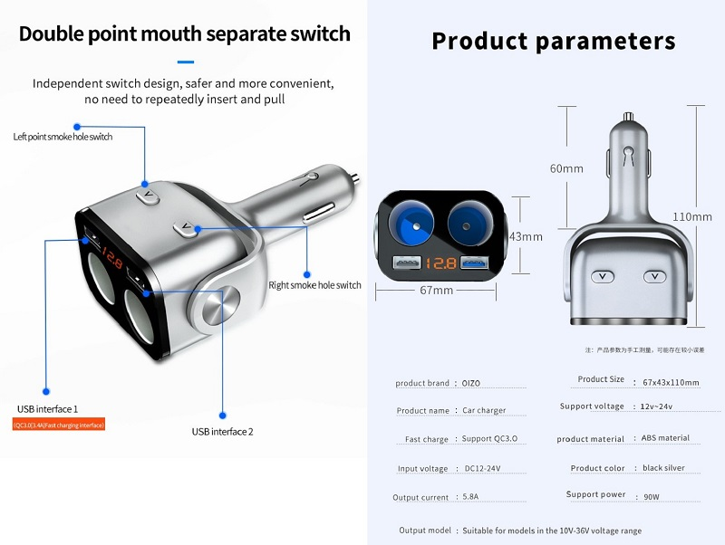 Car Charger Adapter 90W QC3.0+ 2.4A Dual Cigarette Lighter Socket And Dual USB Port